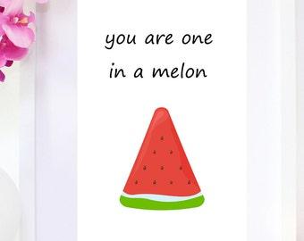 DIGITAL DOWNLOAD, One in a melon, Watermelon, Melon, Watermelon Art, Melon Art, Watermelon digital print, tropical, summer, summer art