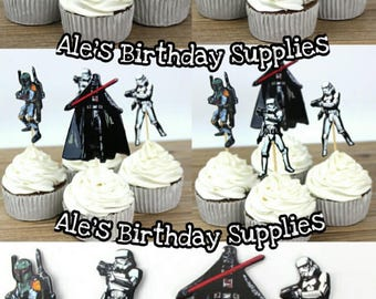 24 Pc Star Wars Cupcake ToppersDouble Sided Party Supplies