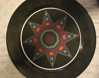 """Dansk 13"""" Chop Plate retired Amish Shadow, Quiltings"""