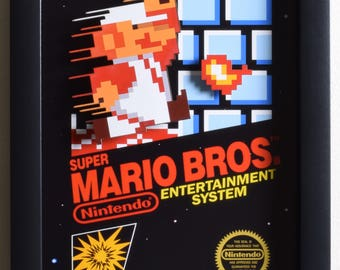 Super Mario Bros Shadowbox - Box Art - NES - Nintendo - 3D Shadow Box Glass Frame - 12x10 - Birthday Gift - Mario Decor