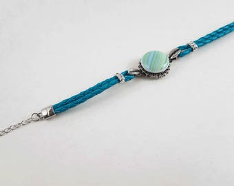 Adjustable Turquoise Braided Cord Snap Bracelet with Handmade Striped Fused Glass Cabuchon