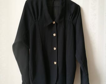 Black sheer 90's blouse w/ golden buttons / 40