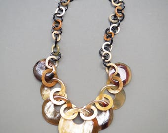 """Statement Necklace, Horn Necklace, Short Necklace, Chunky Necklace, Chain Link Necklace, Chain Jewelry, Chunky Jewelry, 19.6"""" length"""