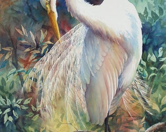 Great Egret, preening egret, Louisiana marsh bird watercolor print