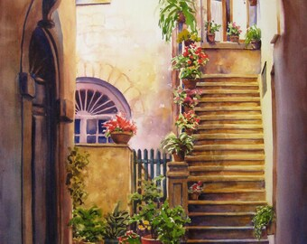 Tuscany architecture, archways, Italian building, watercolor print