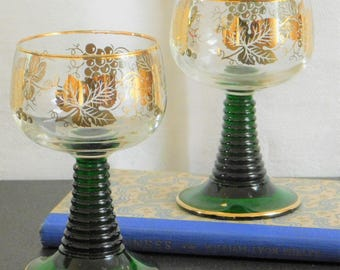 Vintage Hand Painted Wine Glasses, Green Edelglas Wien, Vienna Wine Glass, Gold Grape Cluster and Leaves, Anniversary Gift, Gift for Couple