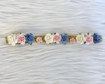 Flower Halo, Baby Flower crown, Flower Headband, Baby Bow