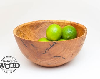 Wood Salad Bowl – Hand Wood turned – Hickory Spalted w/ beautiful worm holes Display Decor Centerpiece Gift Bowl 09271217