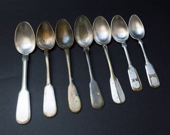 Mismatched antique tea spoons for crafts and jewelry making set of 7 silver plated monogrammed alpacca coffee spoons