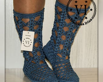 Summer crochet boots/ Hand knitted for adult Crocheted/ Outdoor Summer Wedge Boots/ Hippie Folk Tribal/ Made to Order/ Women Fashion Boots