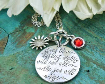 Les Miserable Jewelry, Even the darkest nights will end and the sun will rise, Hope Strength necklace, book literary lover,  recovery gift
