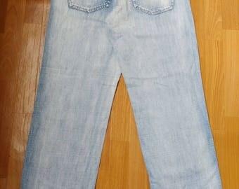 Pelle Pelle jeans, light blue baggy jeans vintage 90s hip-hop clothing, 1990s hip hop shirt, OG, distressed gangsta rap, size W 34