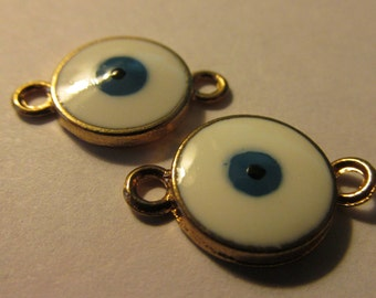 Blue and White Evil Eye Connector Charms, 17mm, Set of 2