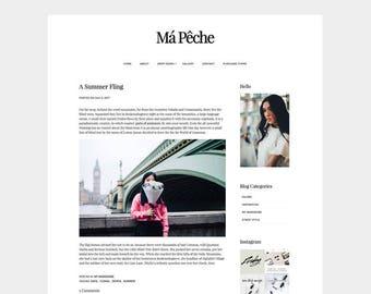 SALE | Má Pêche | WORDPRESS THEME | blog, minimal, white, clean, modern, website, template