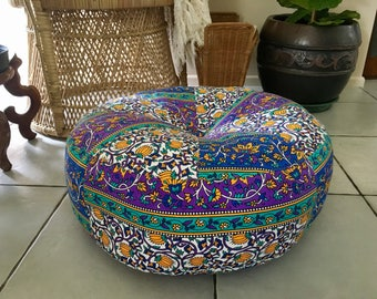 Unfilled 18 Inch 'Jasmine' Gypsy Soul Floor Cushion Cover with Tuffet, Made in Australia, Meditation Cushion, Pouffe, Pouf, Floor Cushion