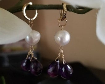 14k Gold Amethyst and Pearl Earrings