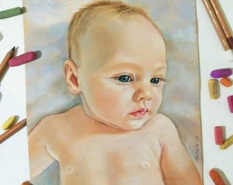 to the Mother's Day Children Portraits  painting baby portrait Family portrait child Wedding gift Drawing portrait girl pet portrait