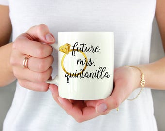 Future Mrs Coffee Mug - Bride to Be Mug - Bride to Be Gift - Engagement Announcment Glass - Oversized Coffee Mug