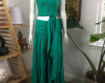 Vtg 80s 2 piece strapless halter bandeau ruched dress skirt turquoise cotton outfit small