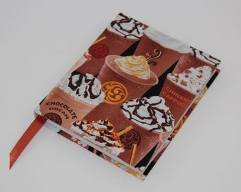 A6 Sketchbook Hand Covered in a contemporary coffee print fabric