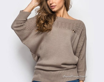 Knitted sweater Beige womens sweater Sweater long sleeve bat Beige Knit tunic Wool sweater openwork Knitted pullover sweater womens