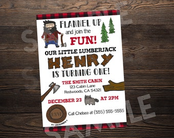 Lumberjack First Birthday Invite // Custom Birthday Invitation //  5x7 // High Resolution Digital Download JPEG & PDF