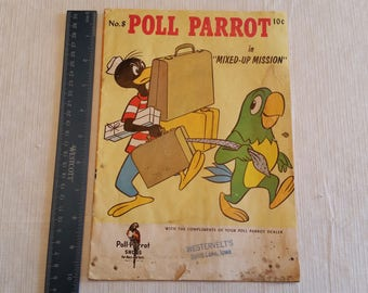 antique comic book - poll parrot shoes issue #8 by international shoe & western publishing  airport baggage story boys girls reading vintage