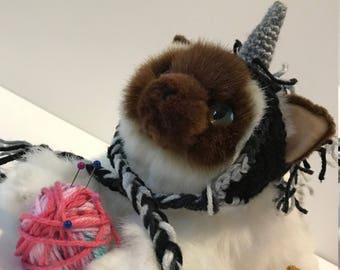 Crochet Goth Unicorn Cat Hat
