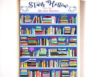 Gilmore Girls Rory Stars Hollow Book Poster reading list, All books referenced in show + 2 surprises = 341 books, Book lover print Christmas