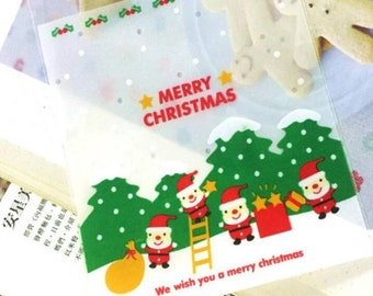 10 sachets/Cookie bags decorated Christmas