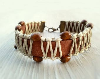 Rustic bracelet Unisex Everyday bracelet Мen Leather bracelet Casual Boho Macrame bracelet Leather Wood jewelry gift for men Brown bracelet