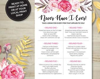 Pink Floral Never Have I Ever Drinking Game, Bridal Shower, Bachelorette, Printable Games, Digital Download, Wedding Shower