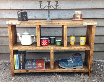 reclaimed wood storage unit handmade from old scaffold boards