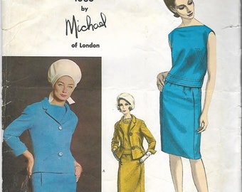 Vintage 60s Vogue Couturier Design 1386 by Michael of London Suit Jacket Skirt and Blouse Sewing Pattern Miss Size 12 Uncut