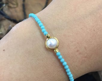 Turquoise beads and fresh water pearl bracelet