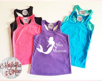 Mini Mermaid, Infant, Toddler, Little Girls Racerback Tank Top in 6 Colors in Sizes 6 Months-6X
