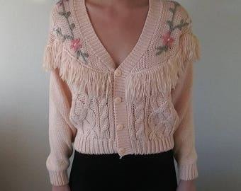 Vintage Powder Pink Flower Fringe Sweater