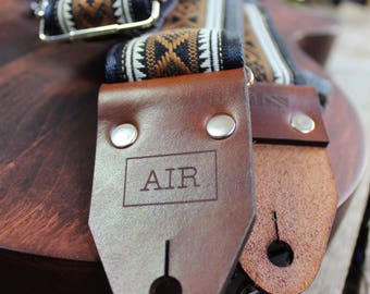 """The Limited Edition """"Outlaw"""" Air Guitar Strap, Woven, Thick Leather Ends, Personalisation, Custom Engraving and Logo Options"""