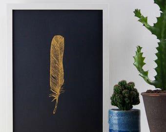 Gold on Black Feather Print,  29.7 cm x 42 cm, A3 Art Print, Poster, Feather Print, Screen Print, Gift Idea, Print