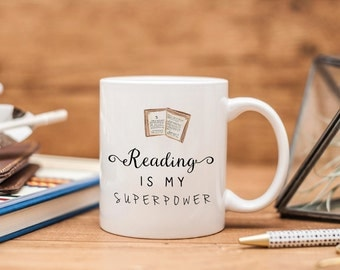 Reading Is My Superpower Ceramic Mug - Bookish Gift - Book Lover Gift - Book Mug