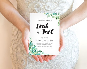 Succulents wedding invitation / Printable Bohemian Wedding invite / Rustic Wedding / Green Leaves Wedding Invitation / DIY Wedding invites