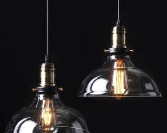 includes bulb vintage industrial hanging ceiling light antique retro french style glass shade art
