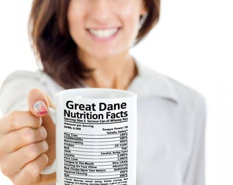 Great Dane Nutrition Coffee mug , Coffee cup, Great Dane Gifts, Nutrition Type Font, Funny mugs | Funny Gentle giant owners gift idea