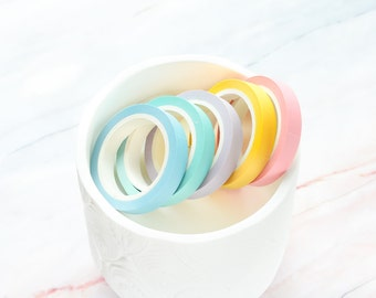 Rainbow Pastel Blue Green Pink Yellow Purple Thin Washi Tape 8mm/ Multi-Color Washi Tape