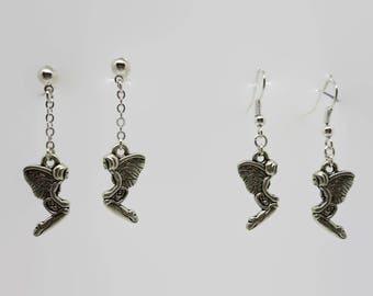 Earrings fairy Dragonfly - silver - 4 cm