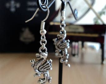 Earrings - silver - dragon 4.5 cm