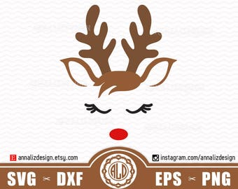 Reindeer svg, Reindeer face svg, Christmas reindeer svg, Deer svg, Reindeer head svg, Reindeer svg files, Boy christmas svg, Rudolph Svg