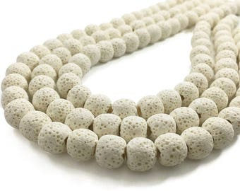 10mm Natural Lava Beads, White Lava Rock Beads, Lava Beads, Jewelry Making