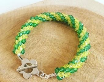 """Kumihimo bracelet """"Yellow & green"""""""