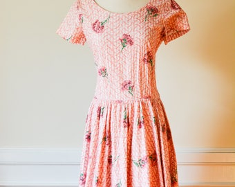 1950's Pink Carnation Print Embroidered Circle Dress by Henley Jr New York/Size Medium